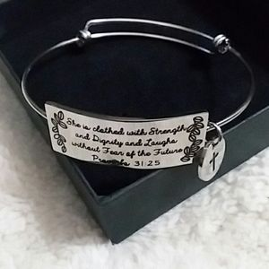 Bracelet with Proverbs 31:25.